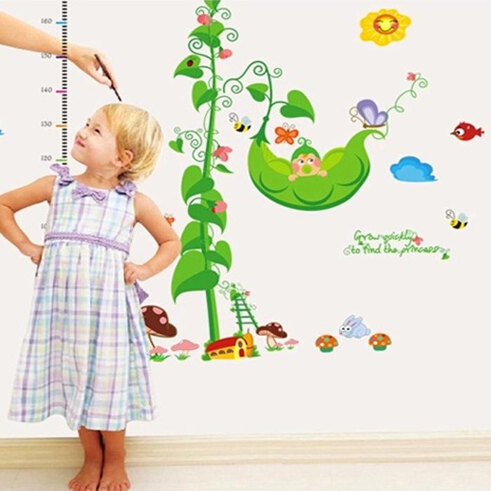 卡通身高贴墙贴儿童房贴纸幼儿园装饰动物贴画可移除