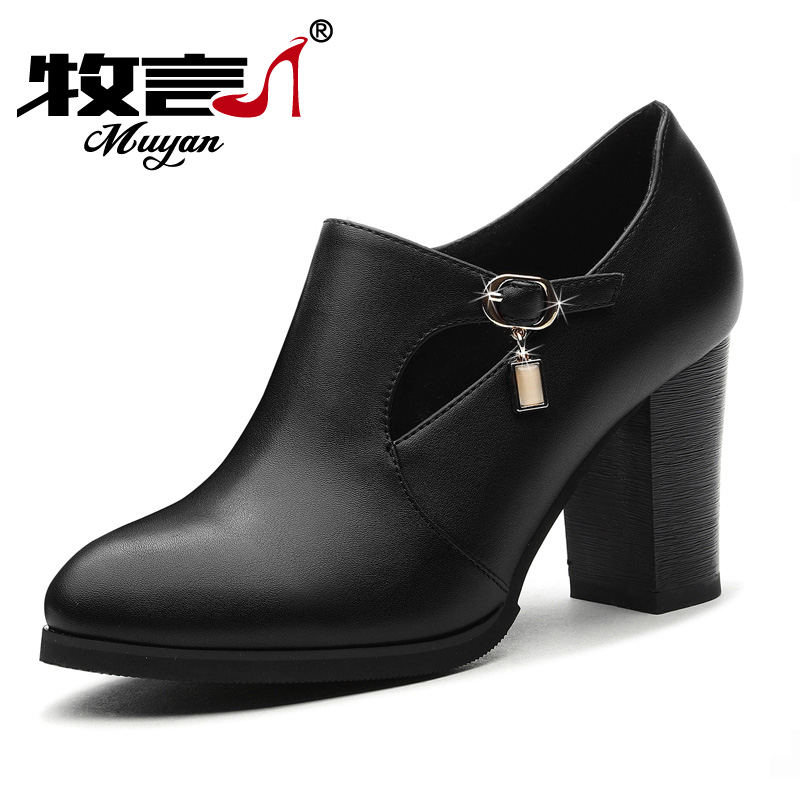 2017春季新款鞋子女圆头粗跟单鞋时尚红色深口高跟鞋女士皮鞋百搭