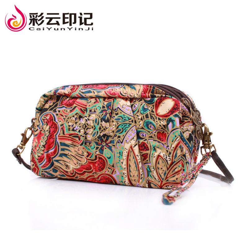 双层布艺手拿包包零钱包女士买菜包斜跨小包手提小拎包复古女包