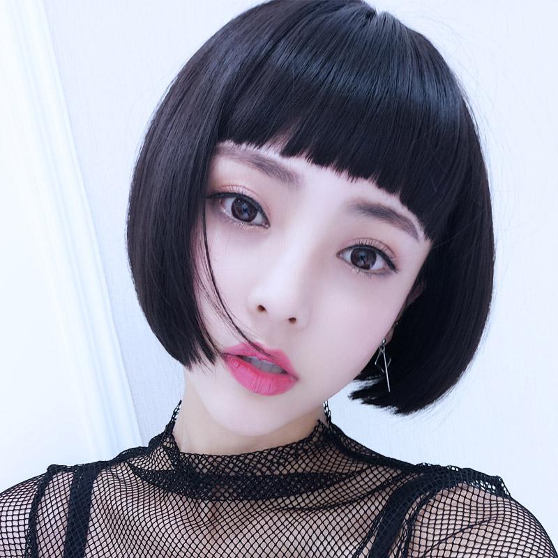 假发女短发 bobo头短卷发狗啃刘海 内扣蓬松修脸自然逼真韩国头套