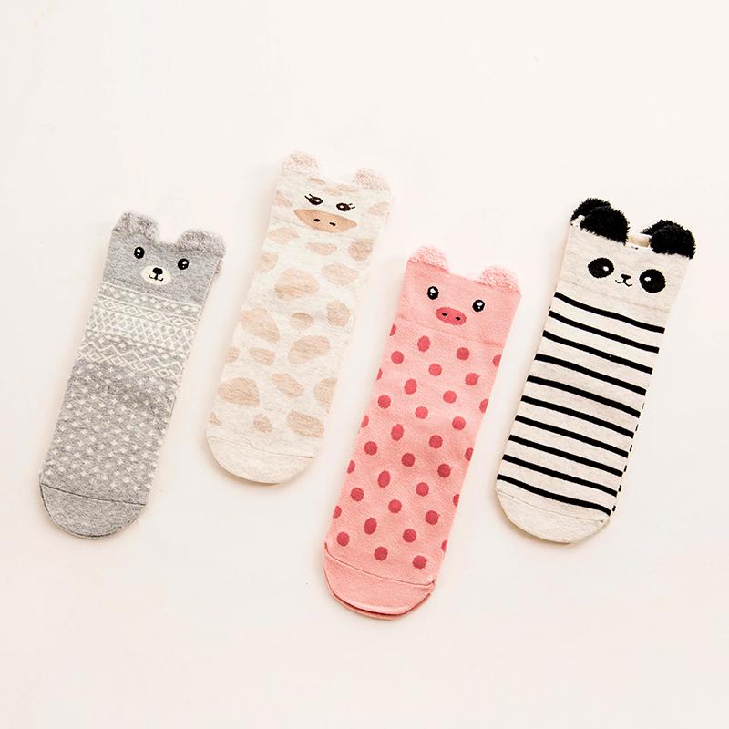 日系可爱女袜 韩国秋冬纯棉中筒袜卡通保暖