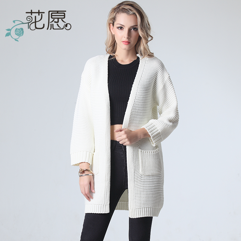 花愿2017春季女装韩版茧型中长款针织衫开衫外套毛衣V领学生潮