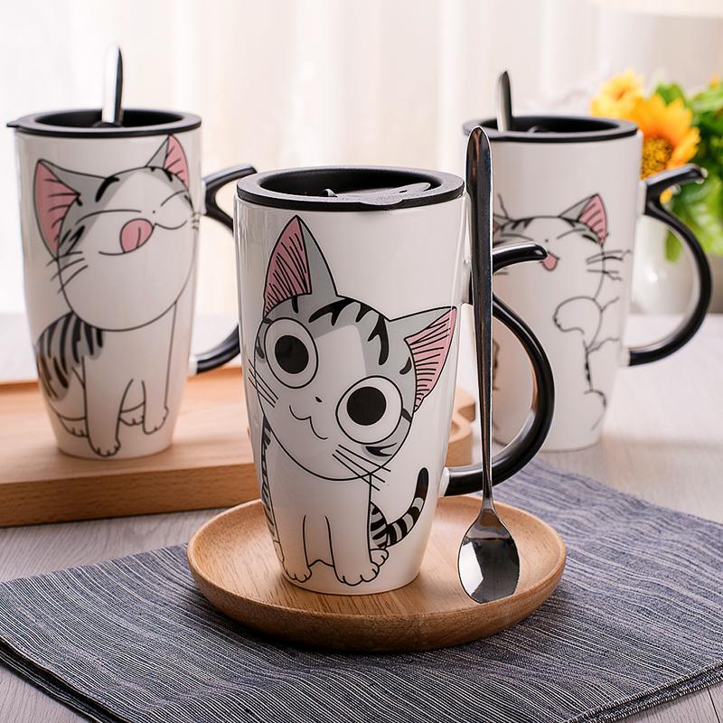 创意猫咪可爱马克杯带盖勺大容量牛奶陶瓷杯个性家用