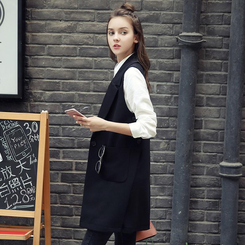 马甲女2016春秋装新款韩版无袖显瘦背心马夹西装外套冬中长款开衫
