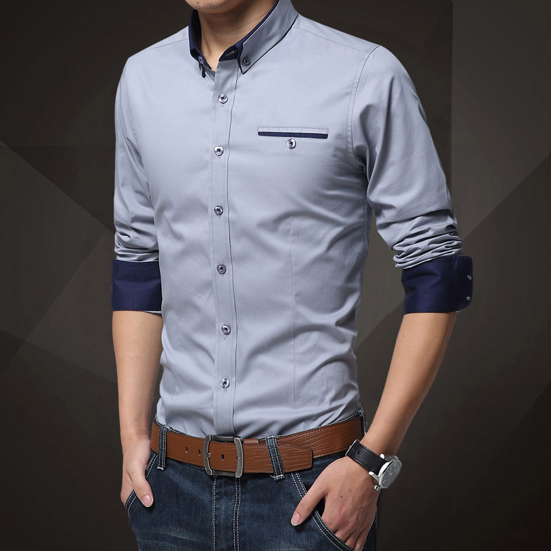 春秋纯色衬衫男长袖韩版修身商务大码衬衣青年薄款休闲打底白衬衣