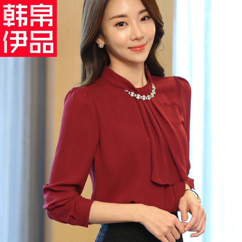 雪纺衫女2017春季新款韩版女装大码百搭女小衫长袖上衣宽松打底衫