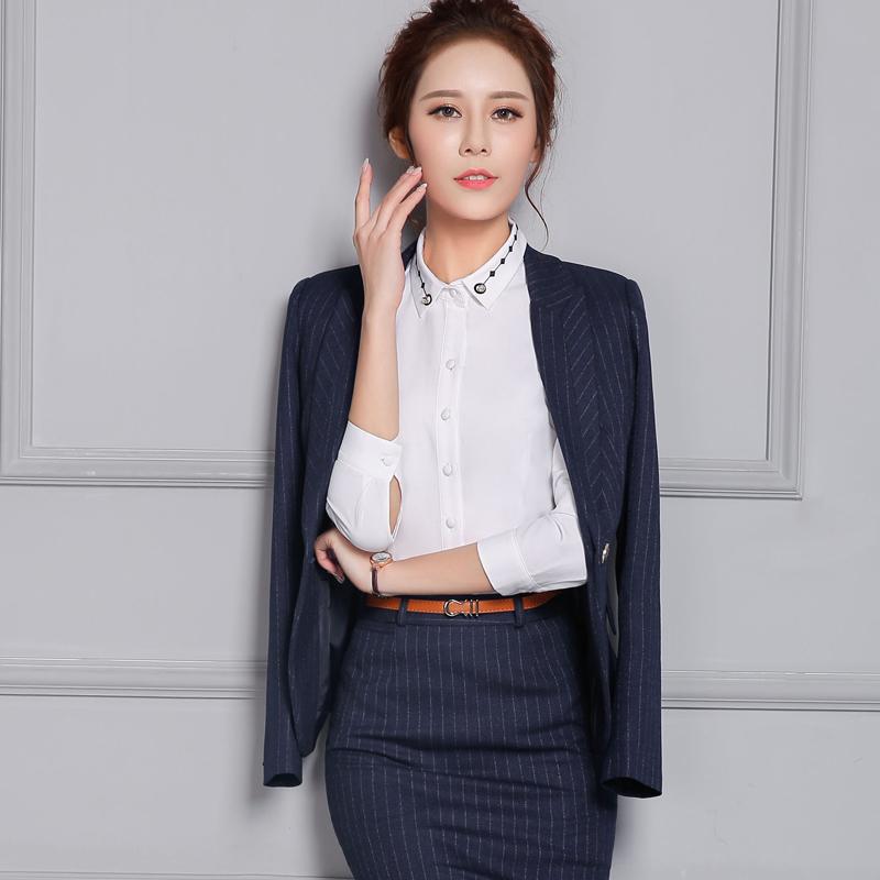 职业装女装套装秋冬气质职业条纹西装西服套装女正装三件套工作服