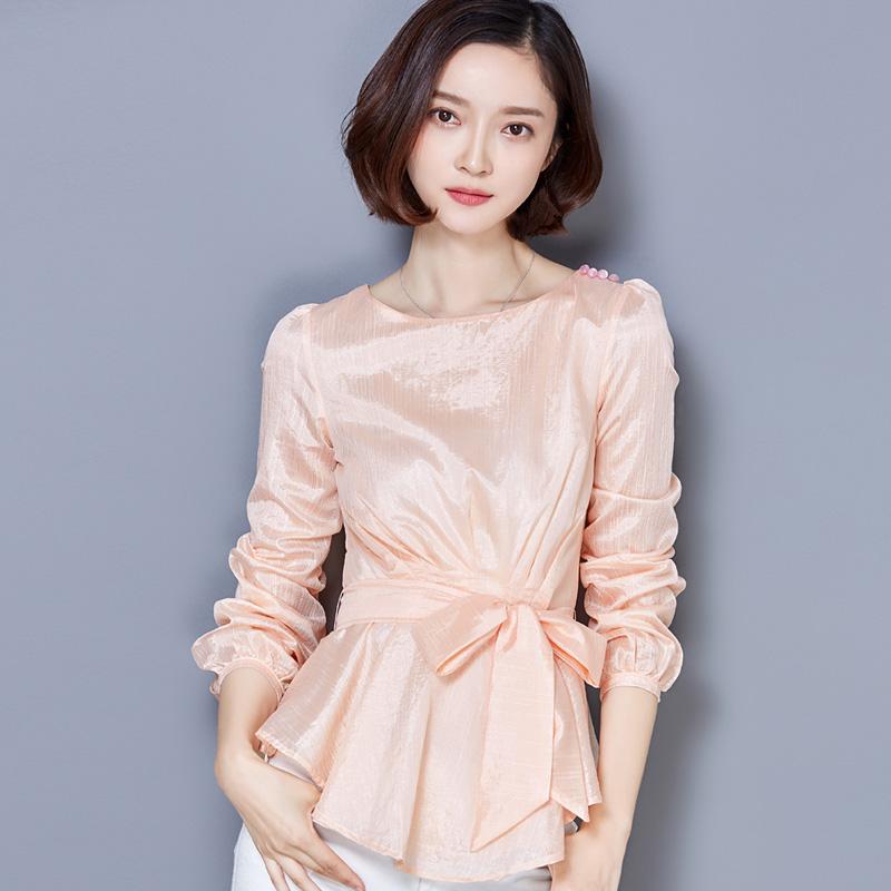2017春装新款韩版女装修身褶皱上衣长袖打底衫圆领系带雪纺衫女
