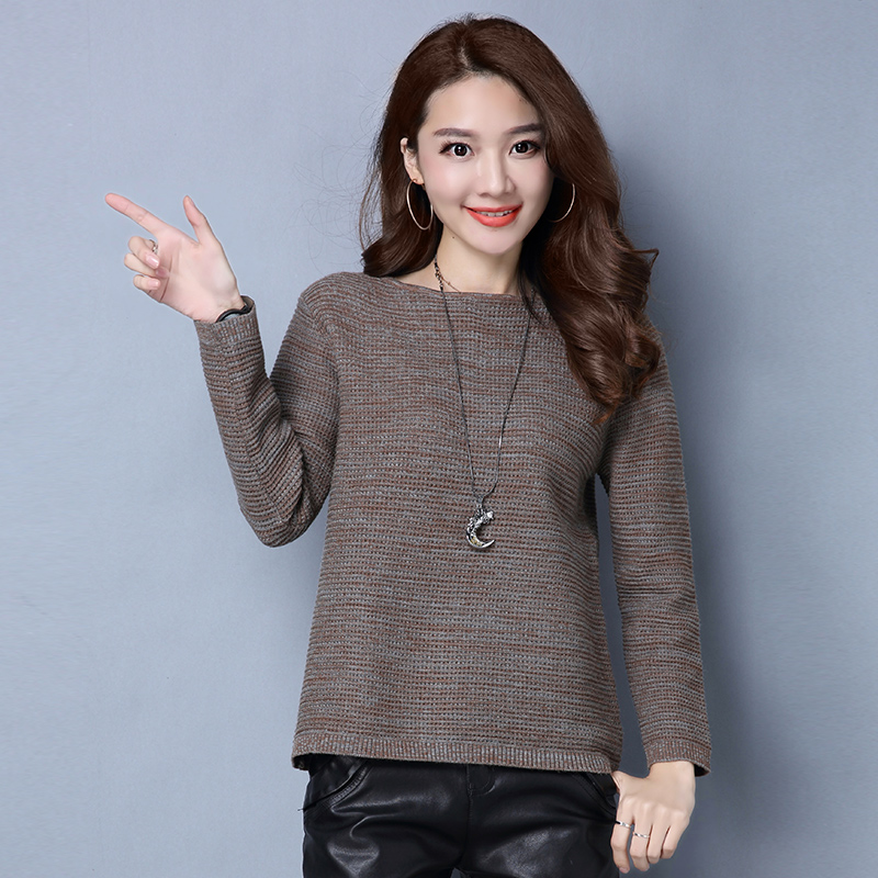 2017春秋新款女装针织毛衣女套头韩版修身长袖一字领长袖打底衫潮