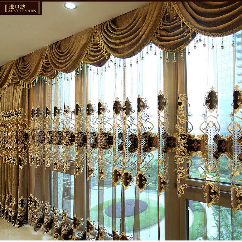 欧式高档雪尼尔绣花窗帘窗纱客厅卧室遮光布料落地窗