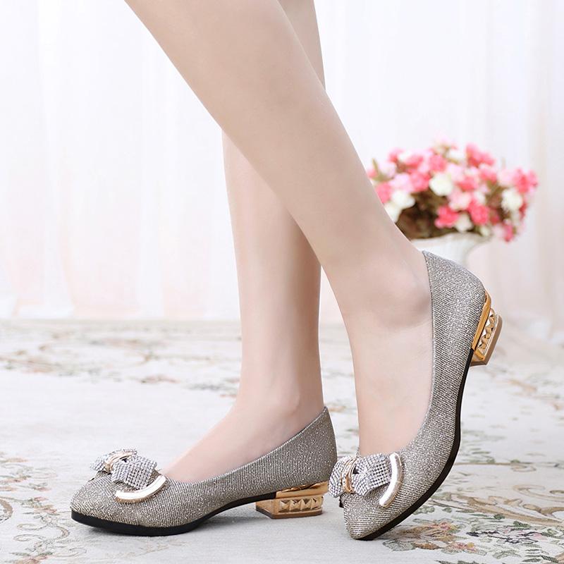 鑫满祥2017春季新款休闲韩版鞋时尚性感浅口单鞋甜美尖头方跟女鞋