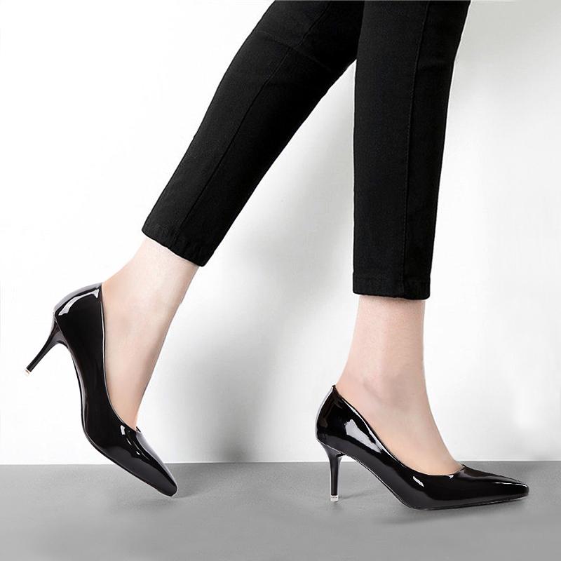 高跟鞋女秋2016新款女鞋尖头黑色细跟性感单鞋百搭夜店工作鞋婚鞋