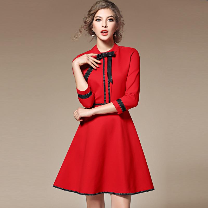 口米大麦女装春装2017新款潮时尚气质蝴蝶结七分袖修身显瘦连衣裙