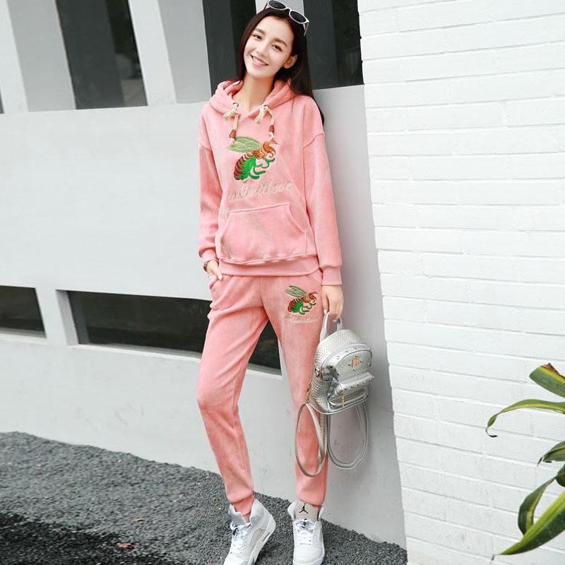 休闲运动套装女春秋冬季韩版加绒加厚卫衣潮连帽套头运动服两件套