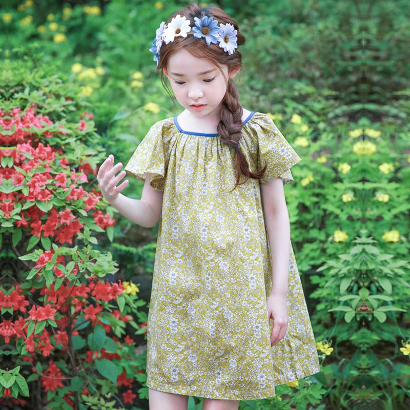 女童碎花连衣裙夏装2017夏宽松大码短袖休闲裙子小清新夏季韩国