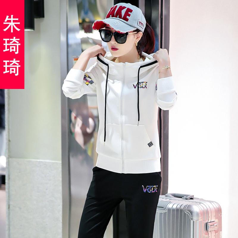 2017春秋新款休闲运动套装女时尚韩版气质卫衣网纱长袖跑步套装潮