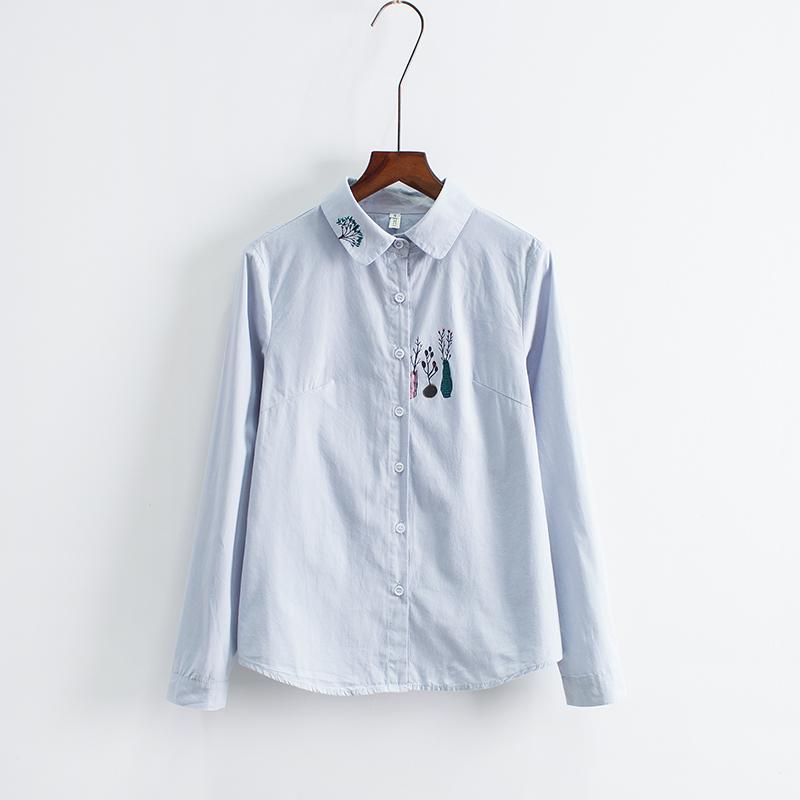 春装新款长袖印花衬衫女文艺小清新衬衣韩版学生百搭打底衫上衣