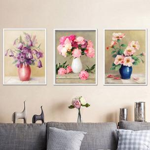 5D钻石画新款花瓶花卉三联贴画点钻石绣客厅满钻卧室欧式十字绣