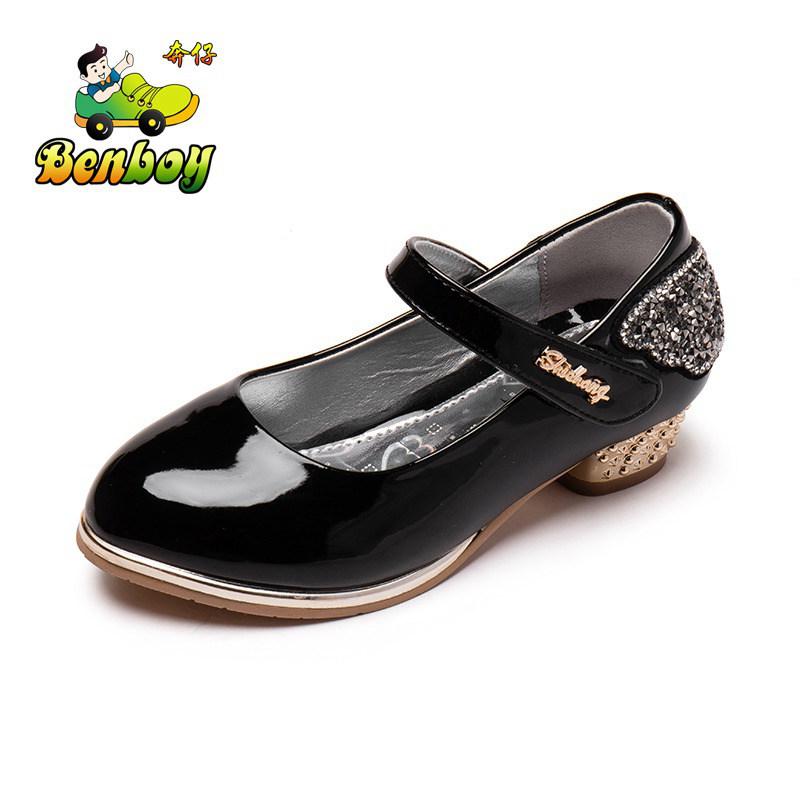 漆皮女童皮鞋儿童单鞋童鞋女公主鞋春季2017新款学生高跟鞋子黑色