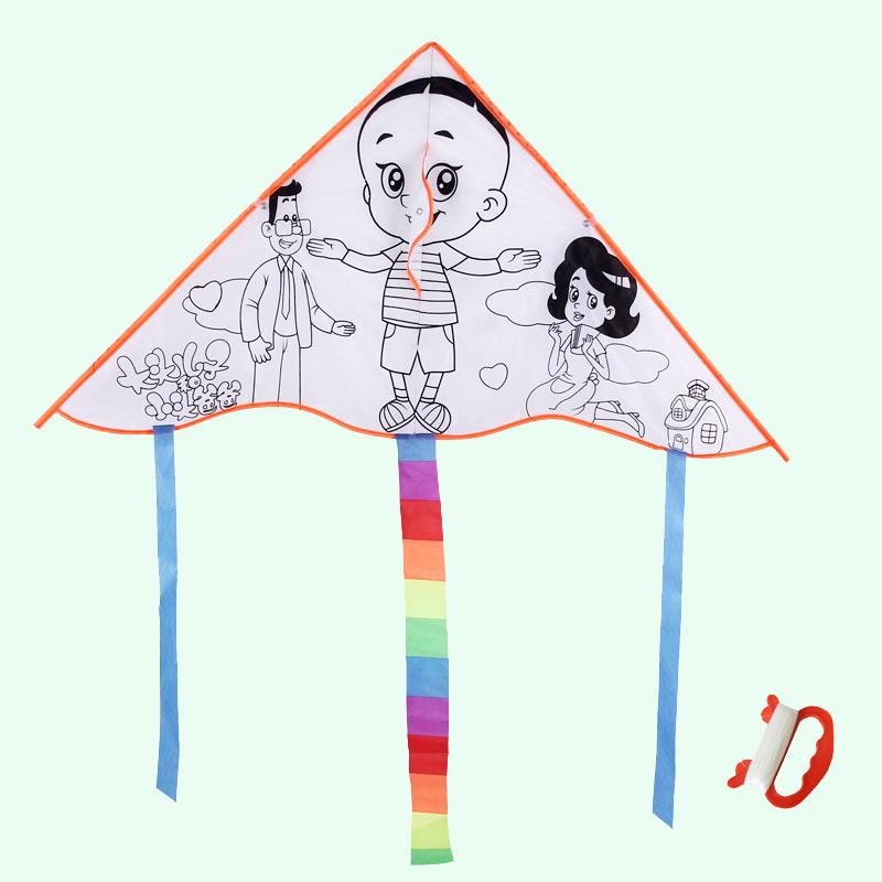 教学空白色风筝 diy制作涂鸦填色儿童手工绘画涂色批