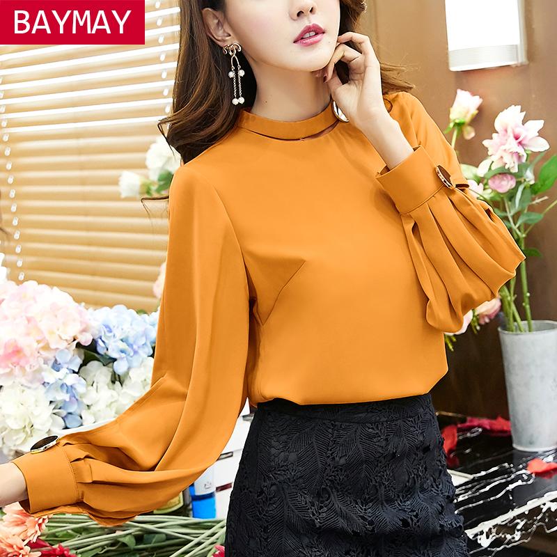 BAYMAY2016秋冬新款韩版女装雪纺衫长袖气质宽松显瘦打底衫上衣潮