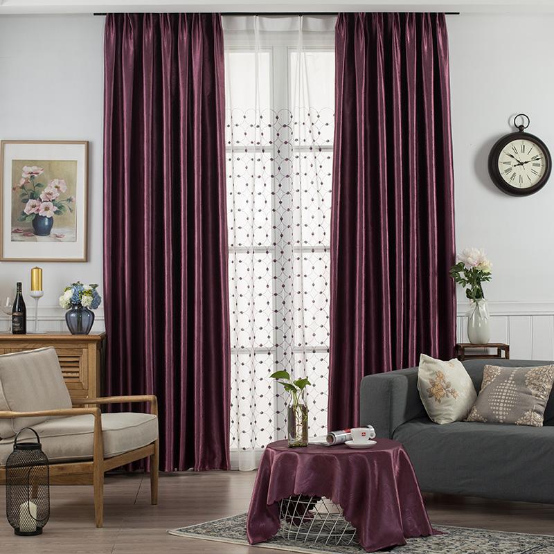 纯色窗帘成品特价欧式简约现代客厅卧室落地飘窗纱全