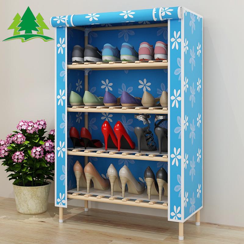 架多层现代防尘布艺家用折叠组装经济型收纳鞋柜特价