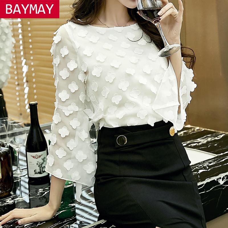 2017春季新款韩版女装雪纺衫女长袖宽松百搭小衫圆领白色网纱上衣