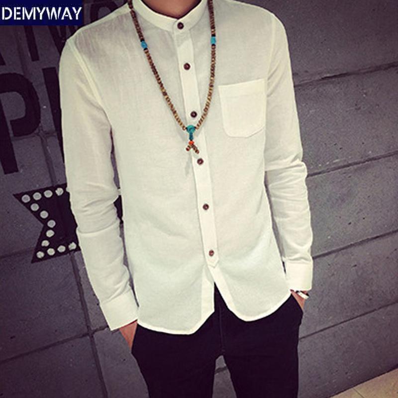 春季白衬衫休闲长袖衬衣男修身亚麻立领寸衫男士打底棉麻料外套潮