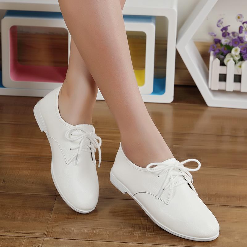 鞋子女秋2016新款韩版百搭真皮小白鞋白色系带学生小皮鞋平底单鞋