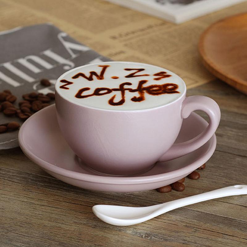 创意陶瓷哑光拉花咖啡杯碟套装加厚大容量300ml欧式拿铁杯红茶杯