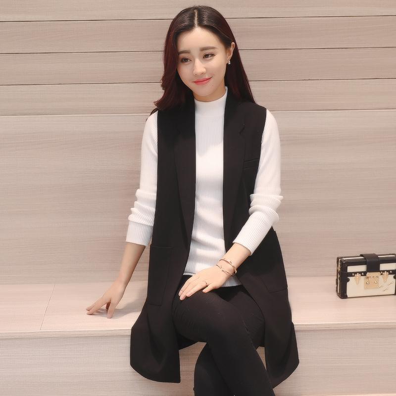 2017春季新款韩版无袖西装中长款马甲女外套百搭黑色马夹显瘦背心