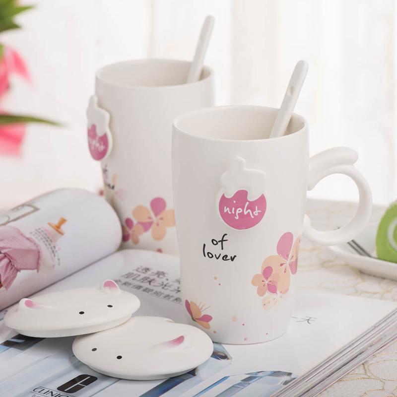 创意个性猫咪马克杯带盖勺办公牛奶情侣杯可爱杯子杯
