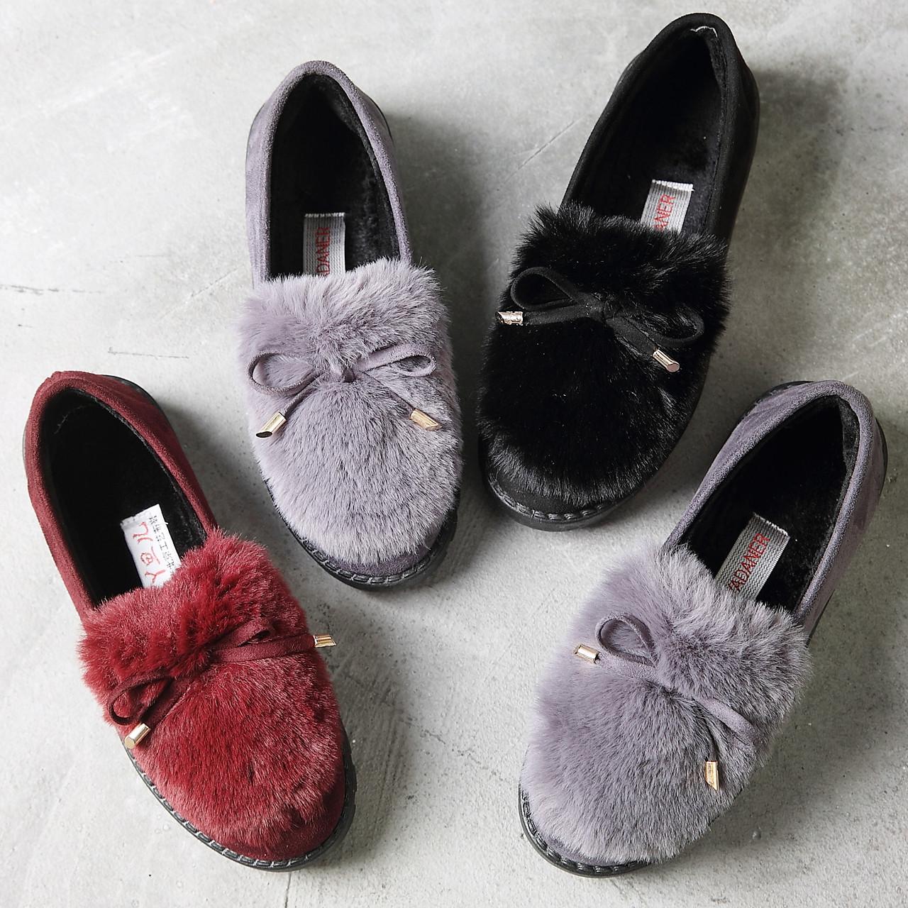 女鞋冬保暖豆豆鞋懒人鞋毛毛棉鞋