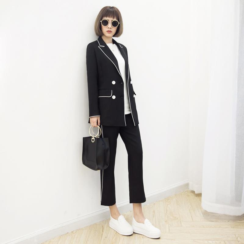 2017春夏秋新款气质淑女套装收腰长袖小西服两件套修身显瘦西装潮