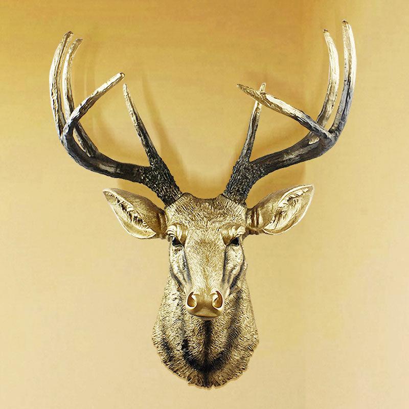 欧式壁饰鹿头壁挂客厅创意仿真立体挂件电视背景墙面