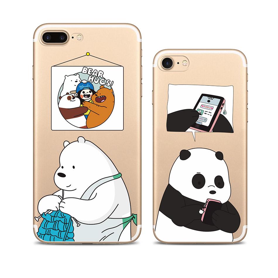 咱们裸熊iphone5se/6splus保护套可爱i7 4.7软壳苹果7plus手机壳