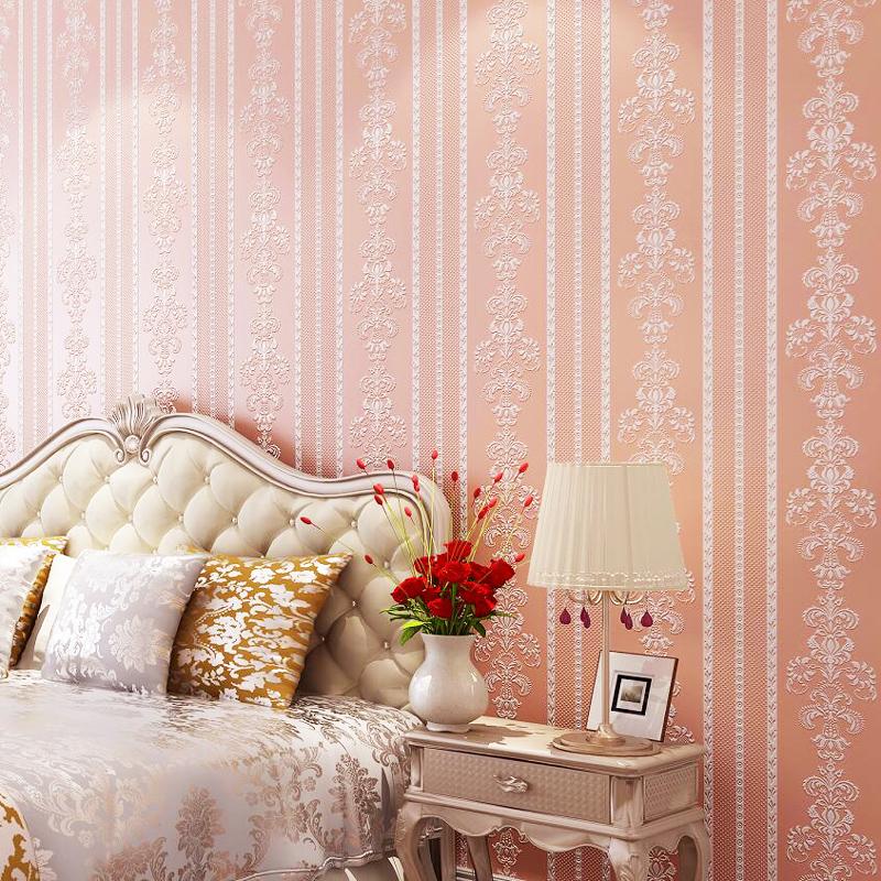 现代简约无纺布竖条纹墙纸欧式3d立体植绒客厅卧室墙
