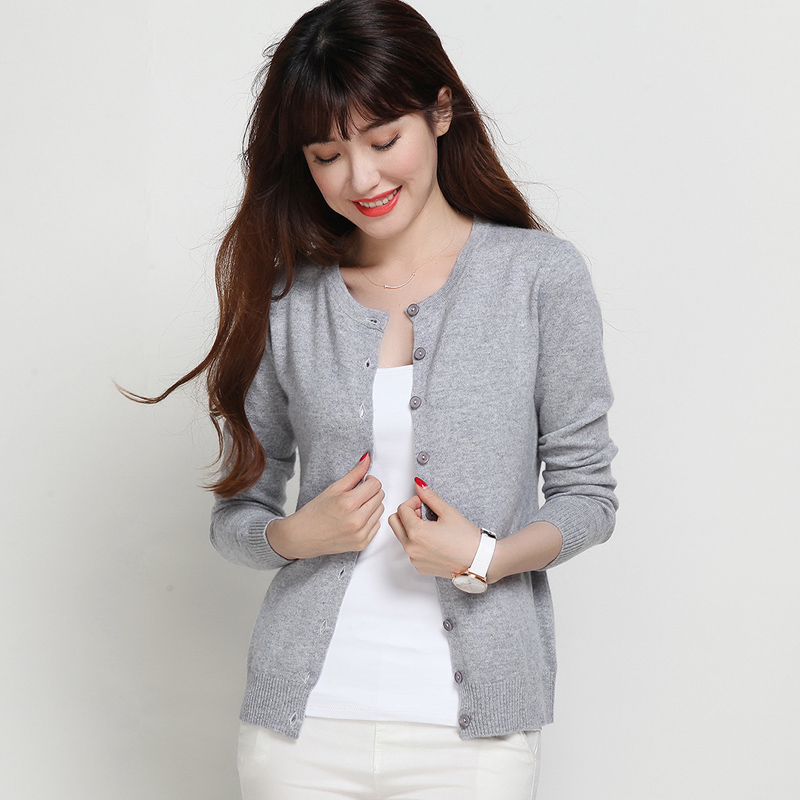 绒都新秀秋冬新款短款针织开衫 修身显瘦外套韩版圆领羊毛衫女