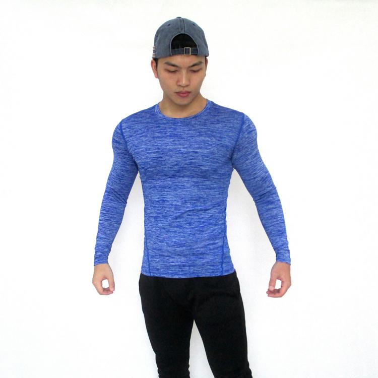 男秋冬长袖健身服紧身衣器械训练运动速干透气高弹力跑步篮球T恤