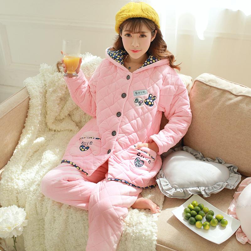夹棉睡衣女冬加厚三层中长款珊瑚绒夹棉韩版可爱少女