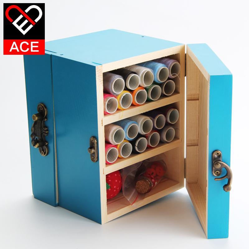 ACE实木针线盒套装 缝纫线盒 家用木质双层针线盒DIY收纳工具木袋