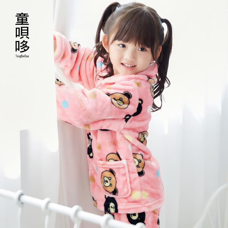 秋冬季男女童法兰绒儿童睡衣套装,券后【28.00元】包邮秒杀