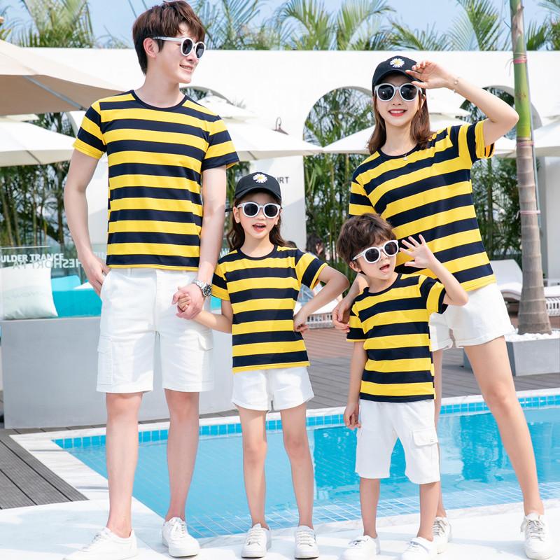 爱郎达短袖一家三口四口亲子装夏洋气子母女装T恤全家庭装半袖