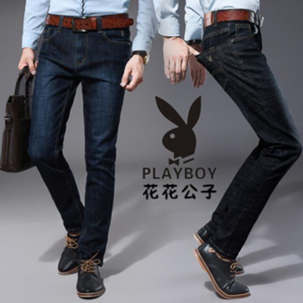 花花公子牛仔裤男夏季薄款正品直筒修身弹力商务休闲深蓝蓝黑长裤