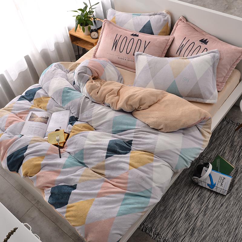 北欧珊瑚绒四件套床上用品保暖绒三件套,券后【148.00元】包邮秒杀