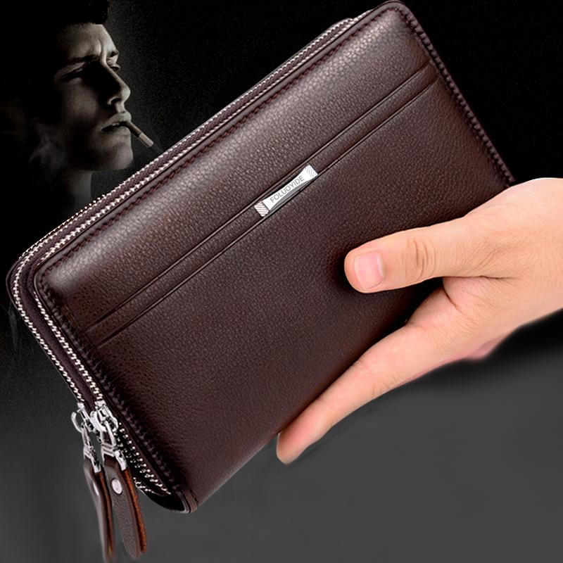 新款经典男士牛皮手包双层双拉链大容量,券后59.00元包邮