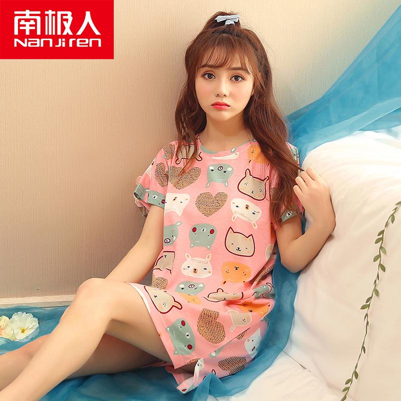 【南极人】夏季女士短袖纯棉睡裙+送发带