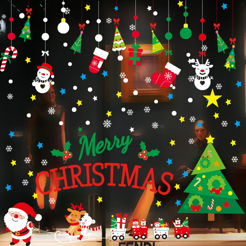 圣诞节客厅橱窗装饰玻璃贴纸+圣诞帽,券后1.00元包邮