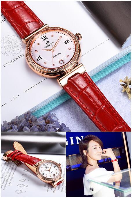 聚划算【天珺】瑞士正品镶钻女士真皮手表,券后945.00元包邮